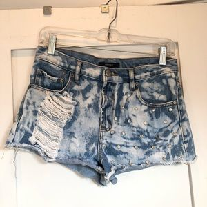 F21 Acid Washed Distressed Bling Jean Shorts